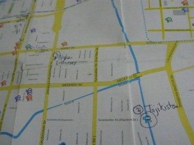 Afghanistan and Tajikistan Embassies on my map of Bishkek