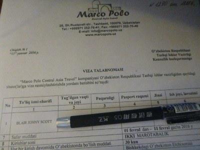 My Uzbekistan Letter of Invitation