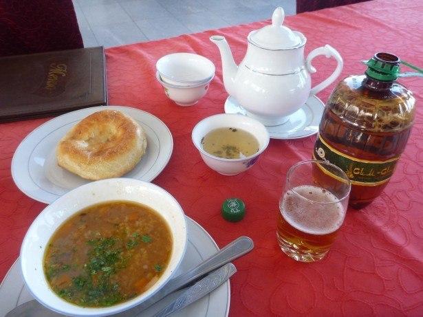 First time to try Mastoba, Tajik tea and Simsim (Tajik Beer)