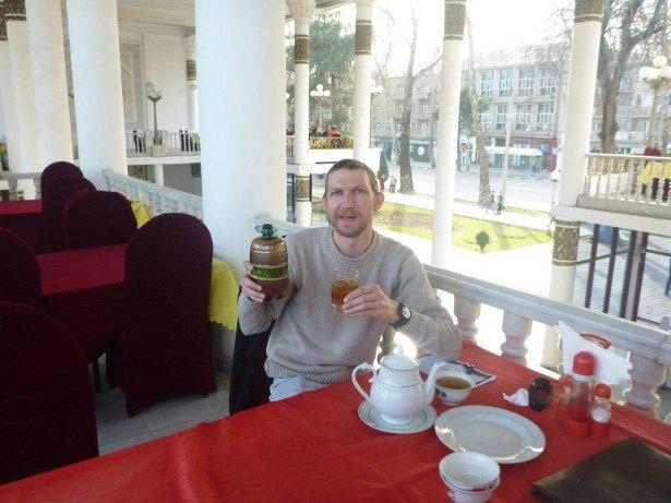 Cheers from Chaykhone Rokhat Restaurant, Dushanbe, Tajikistan