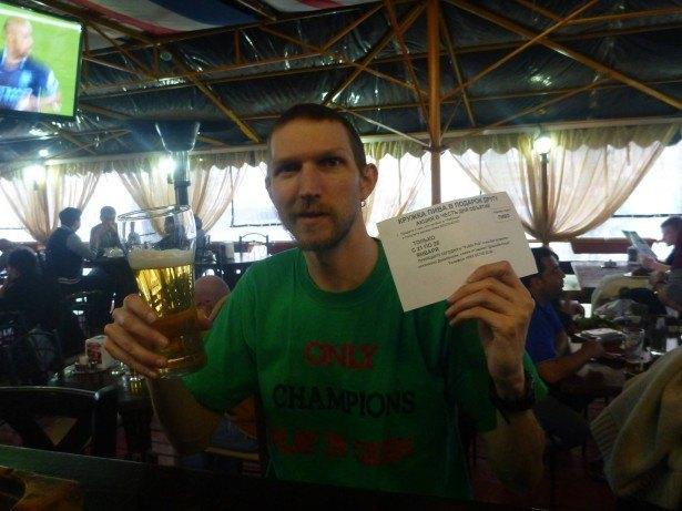 A free beer in Public Irish Pub, Dushanbe, Tajikistan