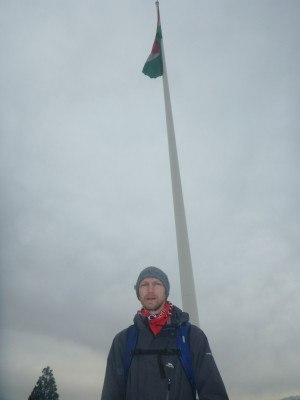 In front of the world's highest flagpole