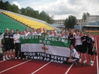 With the entire Northern Ireland ladies team.