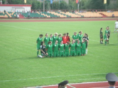 The sexy Northern Ireland ladies team line up in Belarus, 2007
