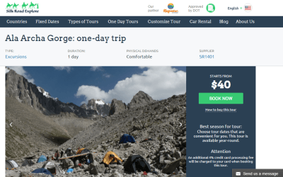 Booking a trip to Ala Archa with Silk Road Explore