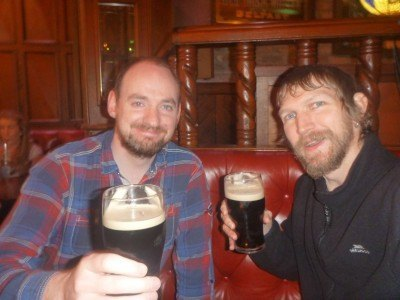Damien and I in Katy Daly's, Belfast City looking for Penelope