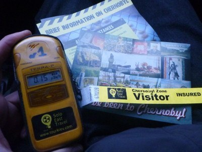 You get a guide, a wristband, a postcard and day hire of a Geiger counter