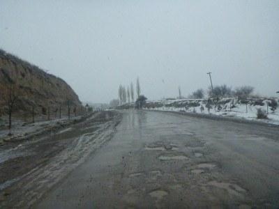 The start of the road to Khorog in Gorno Badakshan from the border.