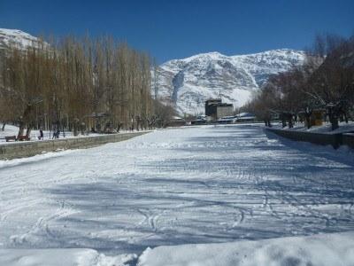 Frozen pond at Khorog City Park