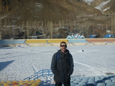 Snowy football stadium tour in Khorog, Gorno Badakhshan