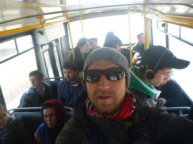 On a local bus in Samarkand, Uzbekistan