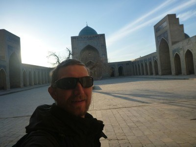 Touring the Kalon Mosque in Bukhara