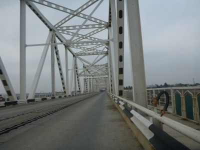 A sneaky illegal photo I took on the bridge, in no man's land (or bridge!)