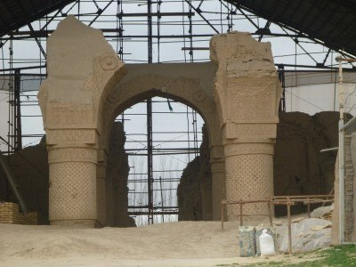The ruins of the Zoroastrian worship building