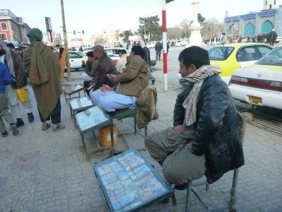 Money changers in downtown Masar e Sharif