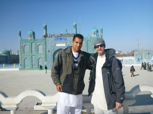 Reza and I at the front entrance gate to the Hazrat Ali Shrine