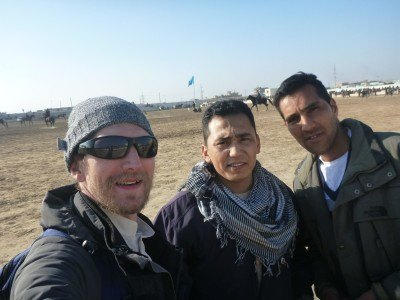 Noor, Reza and I watching Buzkashi