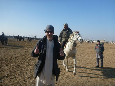 Watching Buzkashi in Masar e Sharif