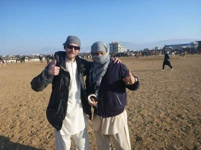 Noor and I watching Buzkashi