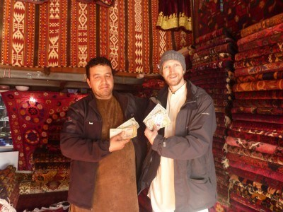 Balkh Tourist Shop in Masar e Sharif, buying some banknotes as souvenirs