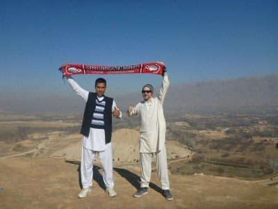 Admiring the view: AFC Bournemouth scarf with Reza and I