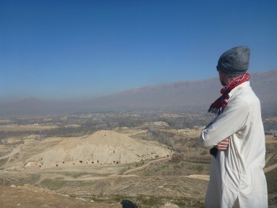 Admiring the view from the Stupa at Takht e-Rostam