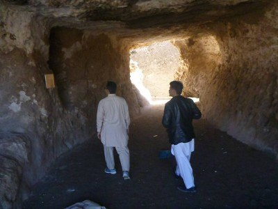 Touring the caves inside the Stupa