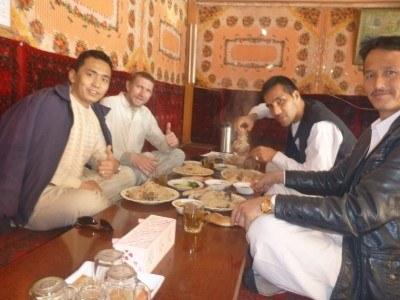 Enjoying our Pilov in Haibak, Afghanistan
