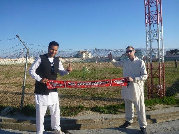 Reza and I watching football at Sina Stadium in Masar e Sharif