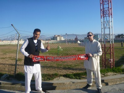 Reza and I with my AFC Bournemouth scarf at the stadium