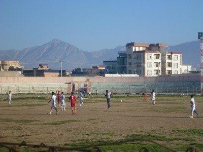 Watching football in Masar e Sharif