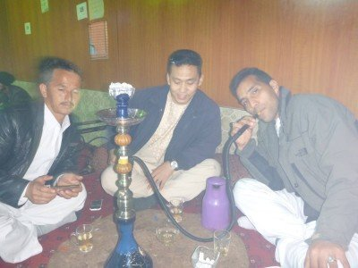 The lads smoking shisha - Sakhi, Noor and Reza