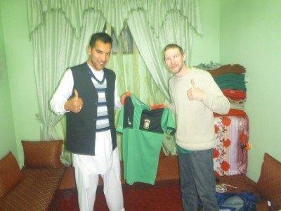 Reza with mhy Glentoran shirt