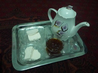Cheese, jam and tea for breakfast