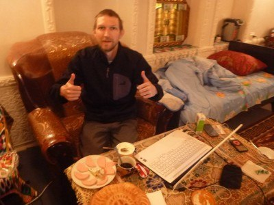 Breakfast and blogging in Bukhara before heading north west to Nukus
