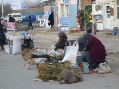 Ladies selling unusual products
