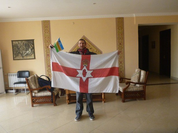 Flying my Northern Ireland flag in Nukus, Karakalpakstan
