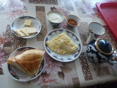 Breakfast in Gulnara Guesthouse. Excellent.