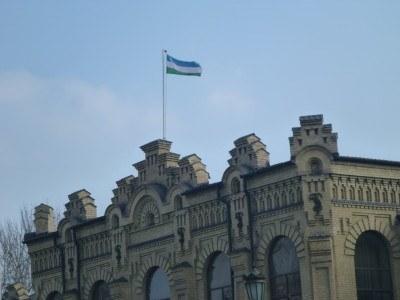 Uzbek flag flying high