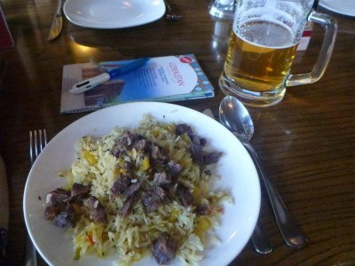 Pilov and beer in Afsona