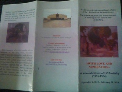 My leaflet for the Savitsky Museum tour (no photos allowed)