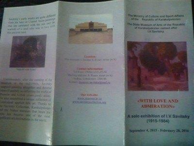 My leaflet for the Savitsky Museum tour (no photos allowed)