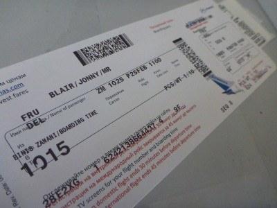 Flight ticket from Frunze (Bishkek) to Delhi (India)