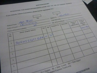 Filling in the form to get my train ticket