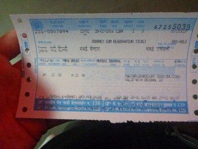 Ticket from New Delhi to Mumbai