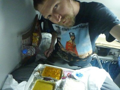 Eating dinner on the night train