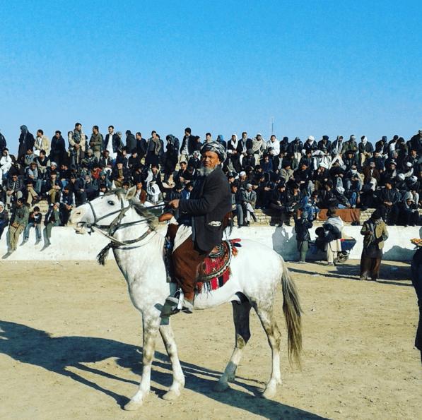 Watching Buzkashi in Masar e Sharif Afghanistan