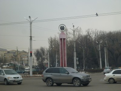 Soviet monument at roundabout