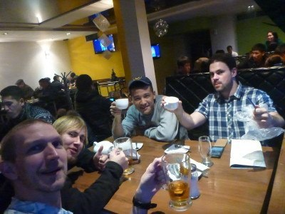 Michel and I partying with some mates in Bishkek, Kyrgyzstan on New Year's Eve 2015