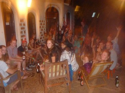 Party crowd at the Jungle Hostel, Goa